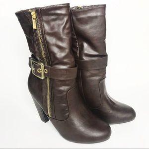 BAMBOO buckled heeled boots sz 8